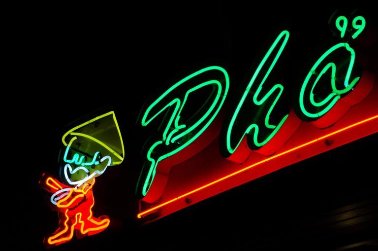 Pho shop's neon sign