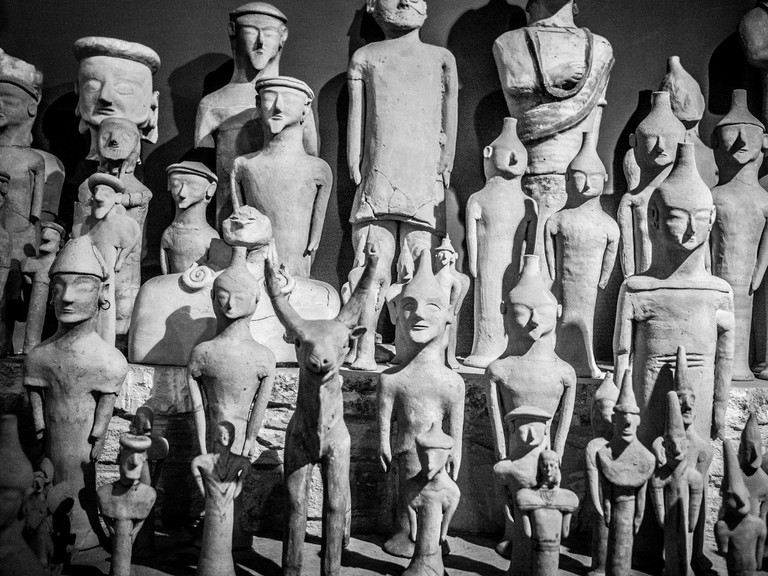 Sculptures at the Cyprus Museum, the oldest and largest archaeological museum in Nicosia, Cyprus