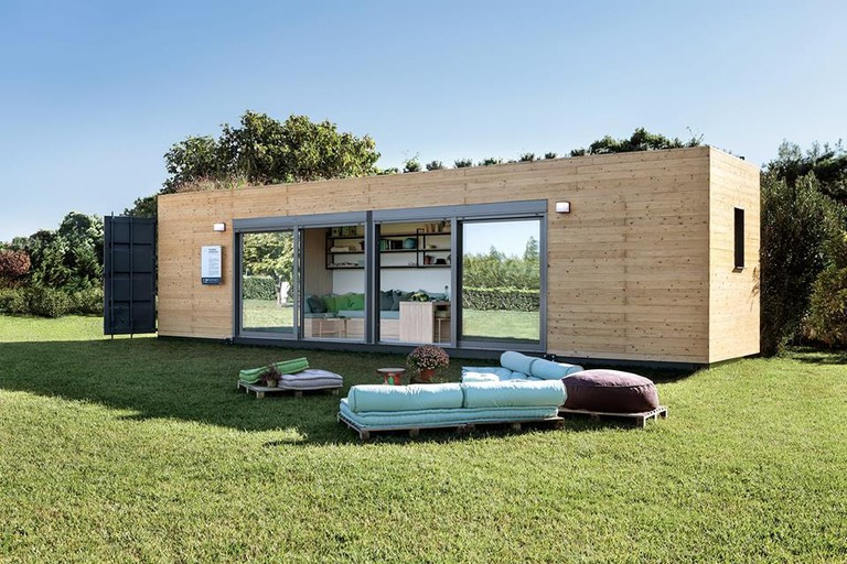 A shipping container turned into a home
