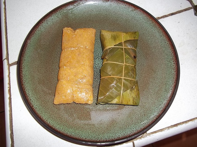 Pasteles, eaten in Puerto Rico at Christmas