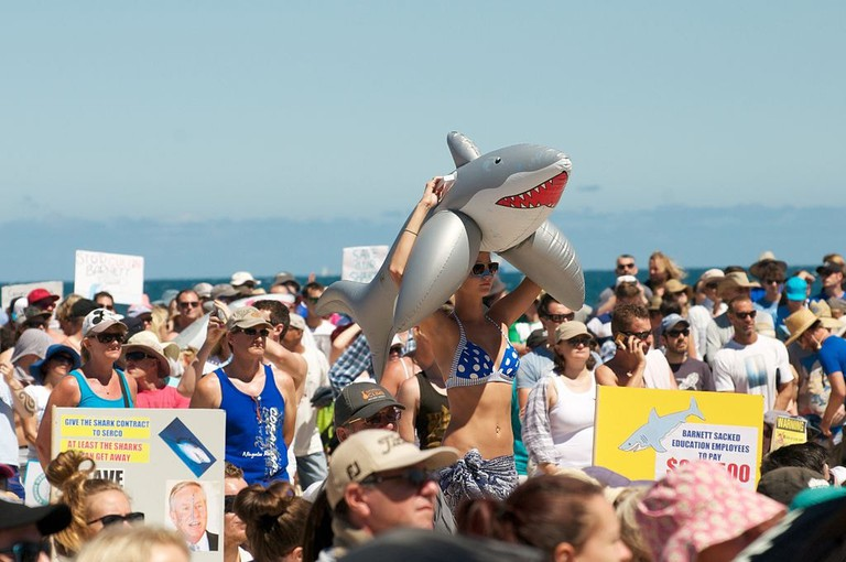 Anti shark cull protest in Perth | © grahameb/Wikimedia Commons