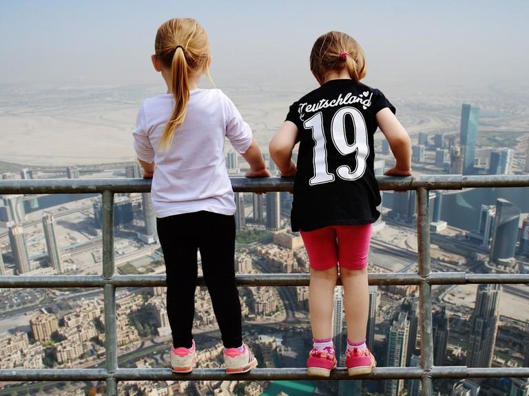 Little girls admiring Dubai from above