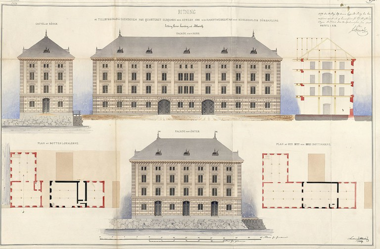 The original plans for an extension to the factory in Stockholm