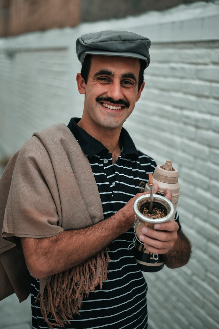 A man drinking mate in Argentina