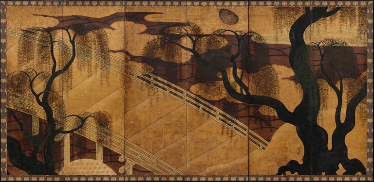 Hasegawa School, Willow, Bridge, and Waterwheel (or Uji Bridge), right panel, early 17th century (Momoyama period)Jane and Raphael Bernstein Collection, New Jersey