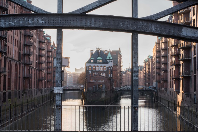 buildings and channel in the old warehouse district in Hamburg, Germany