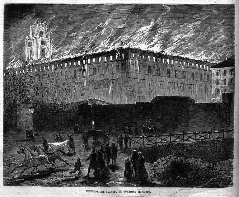 Incendio_del_cuartel_de_Guardias_de_Corps_1869_Madrid