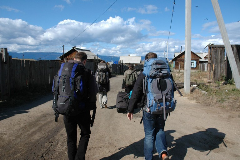 Backpackers head out on an adventure