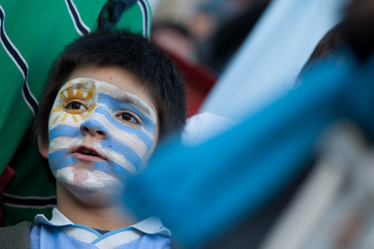 A young football fan in Buenos Aires