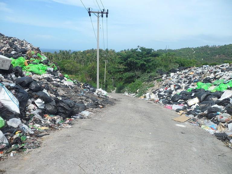 Koh_Tao_Island,_Mountains_of_trash_on_both_sides_of_raod