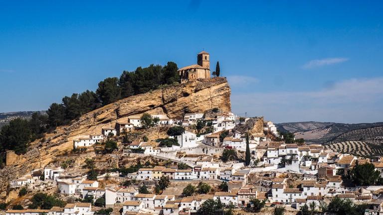 Landscape view of Iglesia de la Villa in Montefrio from the National Geographic overlook