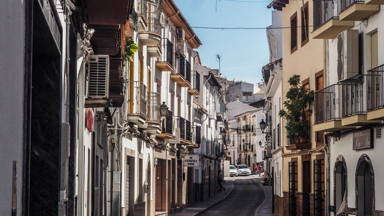 Landscape view of the main street in the village of Montefrio, Granada in Andalusia, Spain