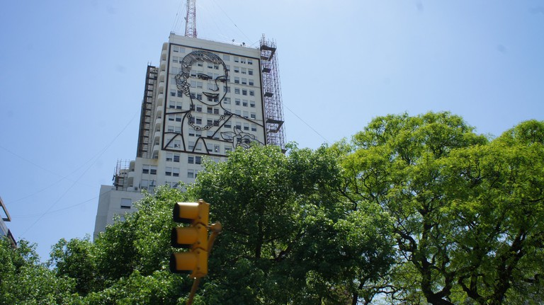 Eva Perón on the 9 de Julio Avenue in Buenos Aires