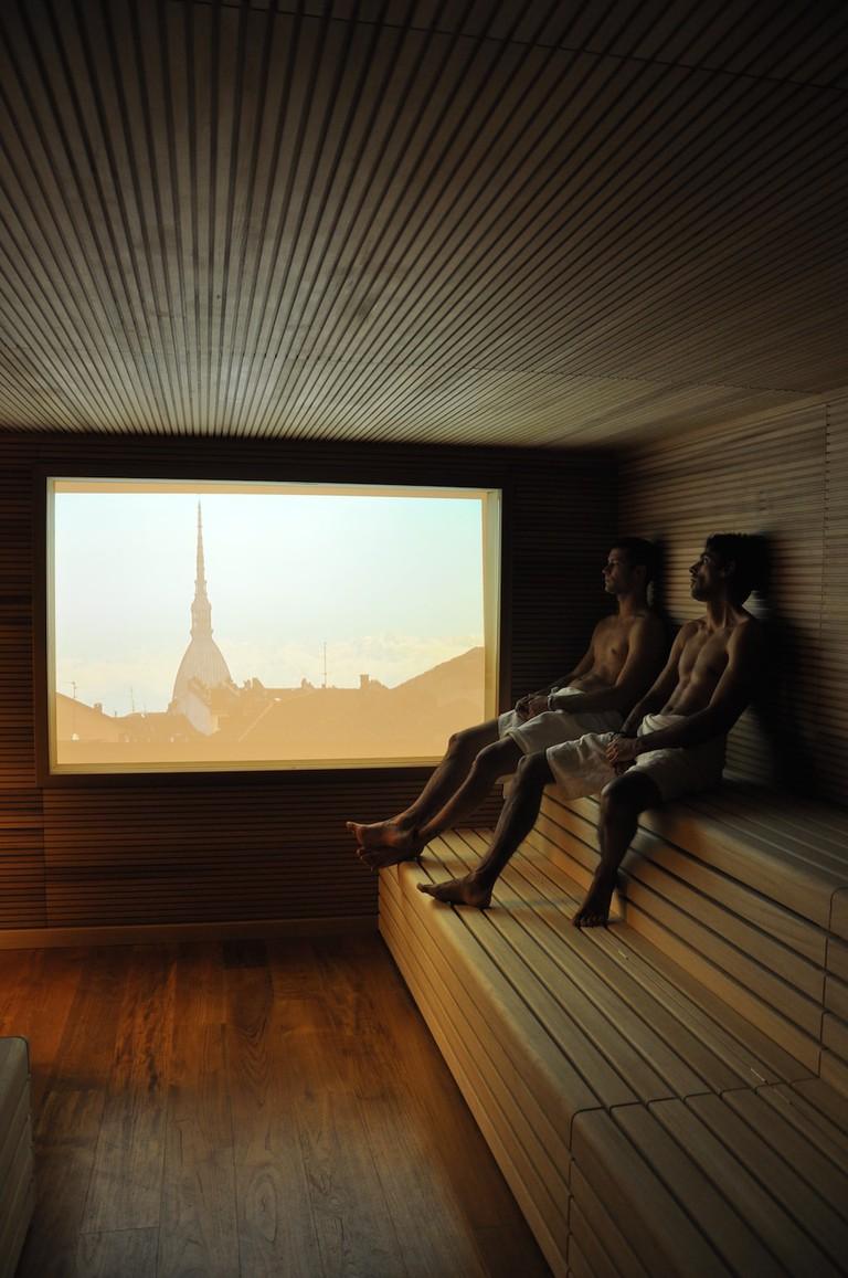 Sauna with a view at QC TermeTorino | Courtesy QC TermeTorino