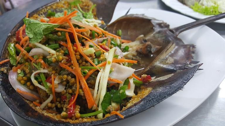 Salad with horseshoe crab