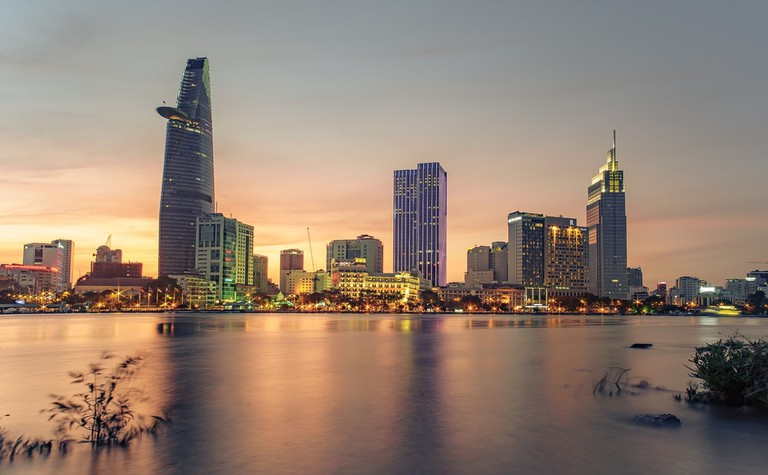 Business Centre of Ho Chi Minh City, Vietnam from the District 2 billboards   © Lu Nhat Thuyen/Shutterstock