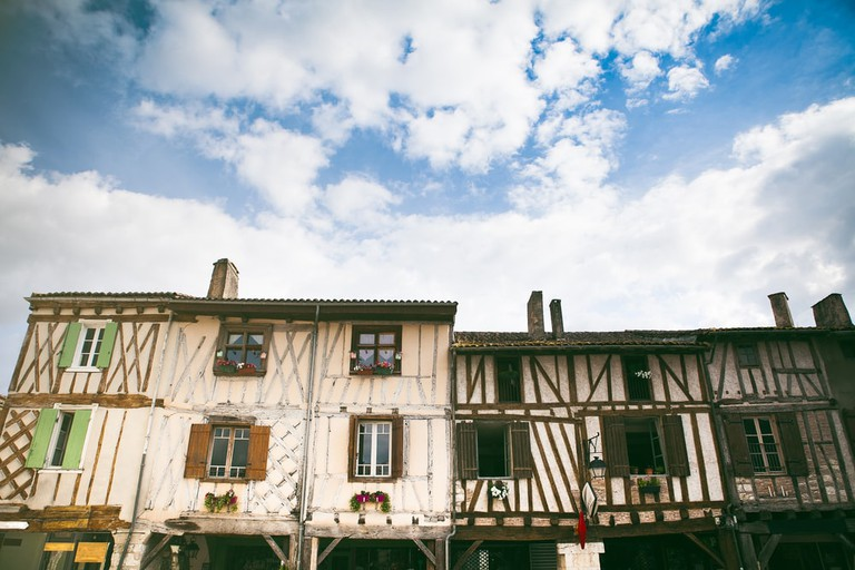 Medieval french timber architecture in Eymet, France, Aquitaine   © Kelsey Hayne/Shutterstock