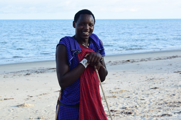 Maasai guide leading the way along the Saadani Coast
