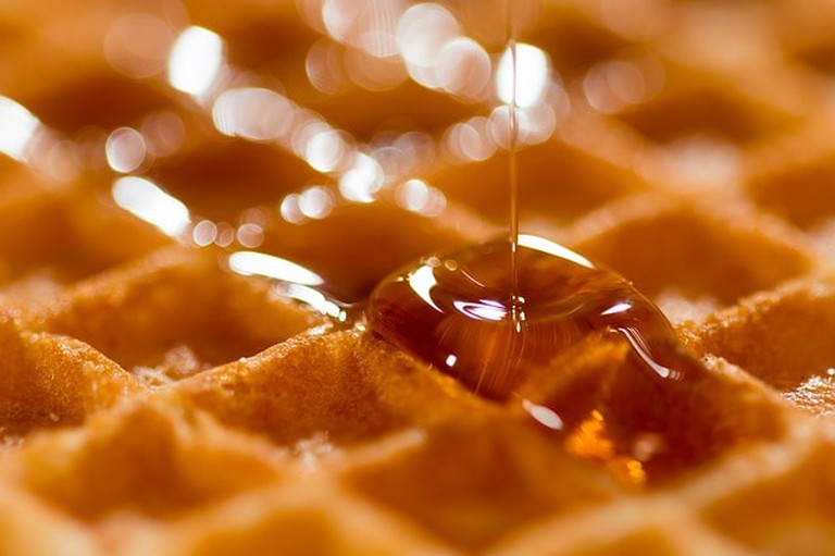 Maple syrup on a waffle