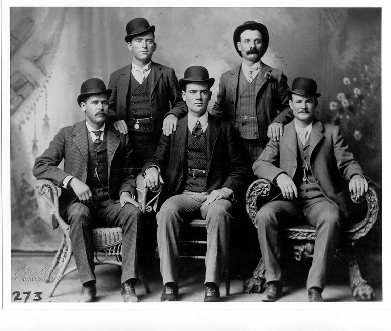 Butch Cassidy is featured here with his gang, the Fort Worth Five