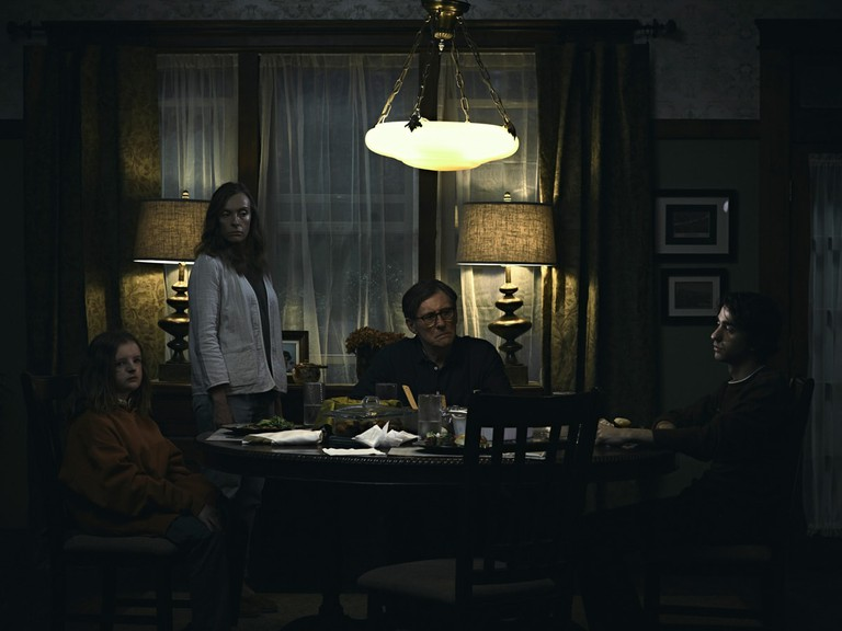Milly Shapiro, Toni Collette, Gabriel Byrne and Alex Wolff appear in 'Hereditary'