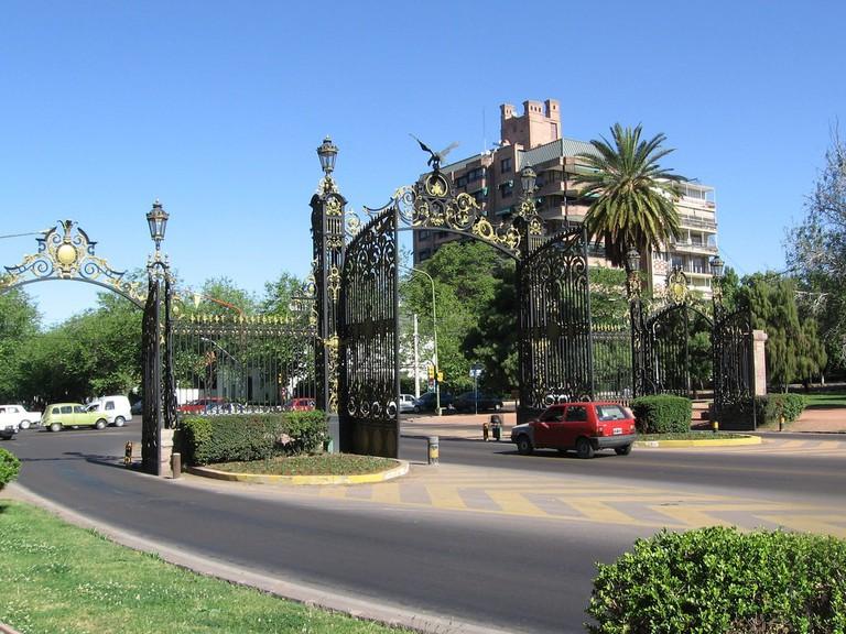 The entrance to a pretty park in Mendoza
