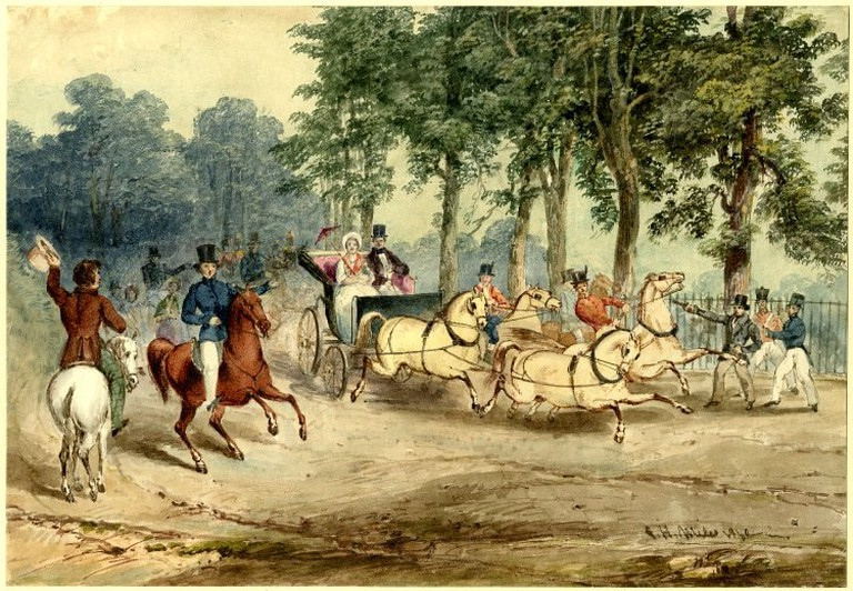 Edward Oxford's assassination attempt on Queen Victoria, G.H.Miles, watercolor, 1840