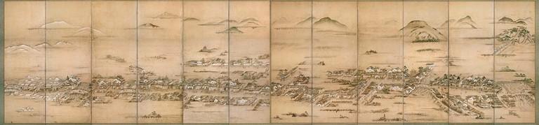 Hiroshima-Castle-Town-folding-screen