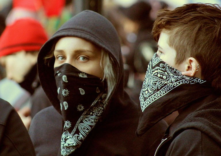 Modern day anarchists at a protest