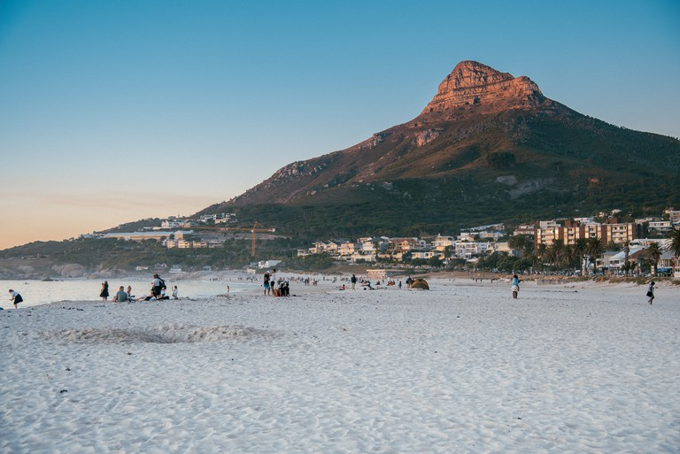 Lion's Head from Camps Bay beach at sunset