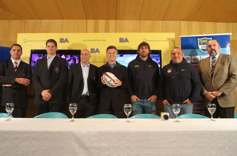 Members of the Los Pumas rugby team