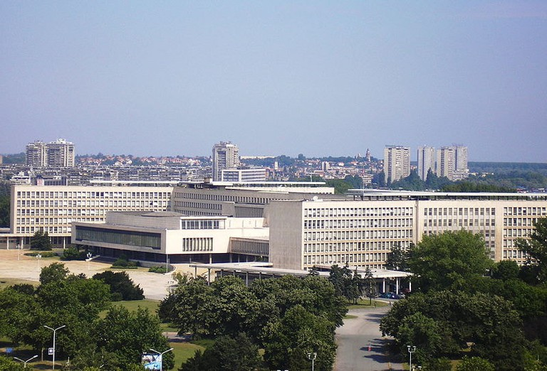The Palace of Serbia from far away