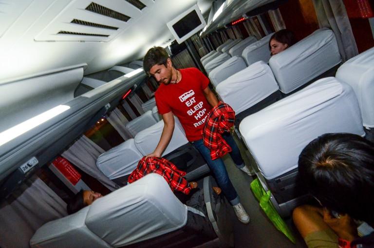 Inside a Peru Hop bus