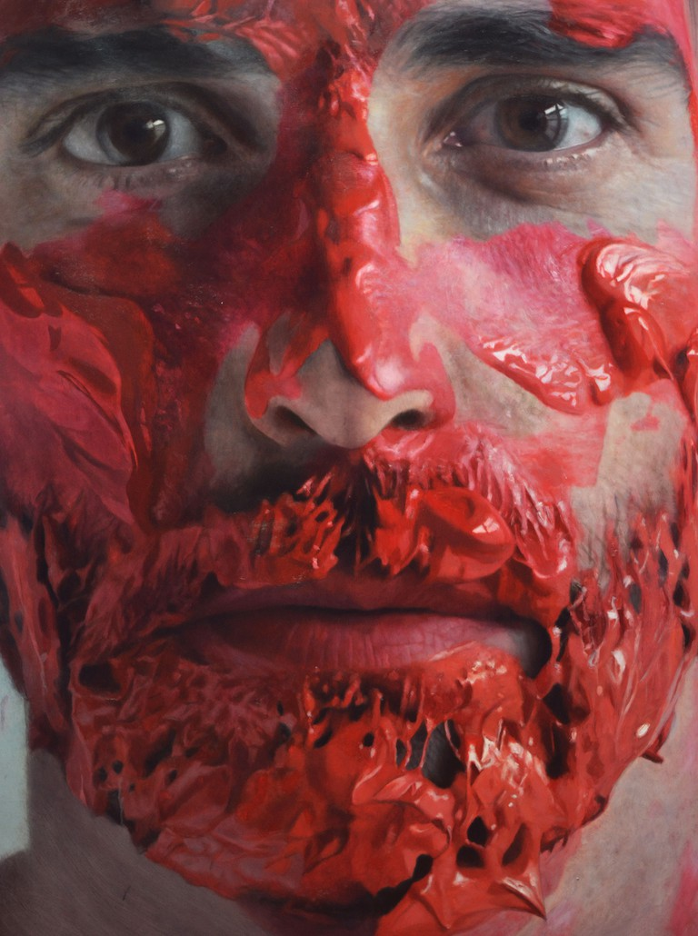 paint in my head, detail, 2013.oil on canvas 150x150 cm.
