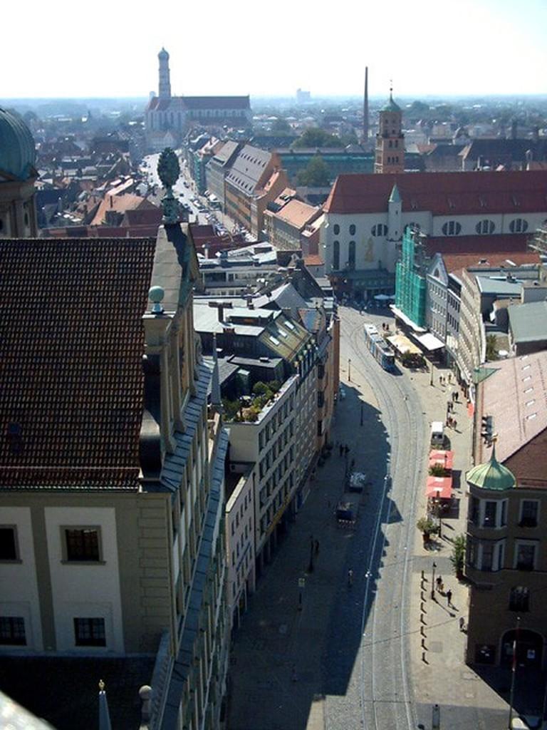 Rathaus-maximilianstrasse-Augsburg-Blick-vom-Perlachturm