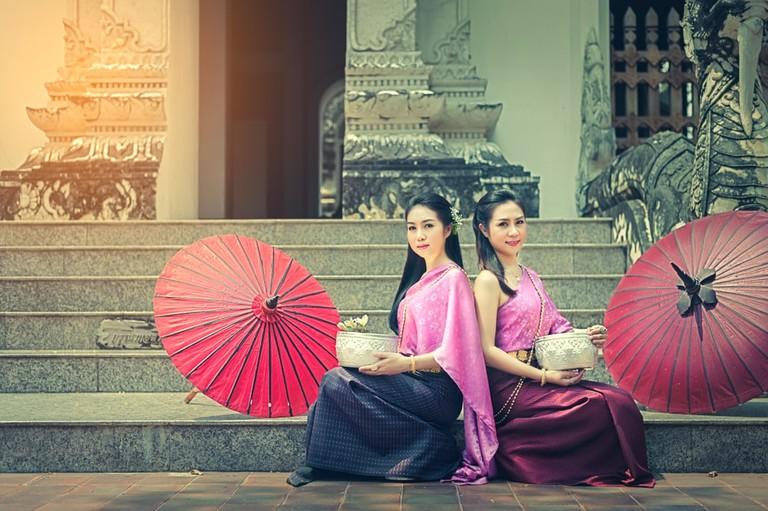 Thai womans in Thai national dress