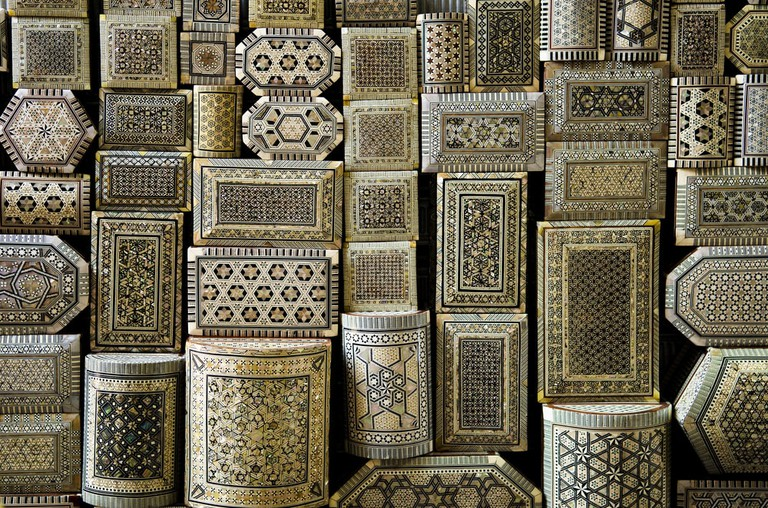 Traditional decorated souvenir boxes in a market, Cairo, Egypt