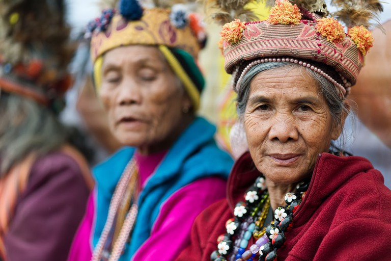 Filipino woman of Ifugao mountain tribes in Banaue village, north Luzon, Philippines
