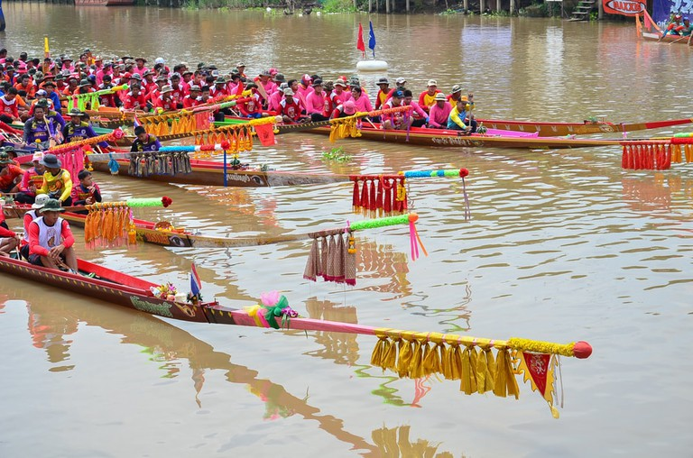 Long Boat Race festival at Phosanko councils of Princess's Cup Championship, Singburi, Thailand