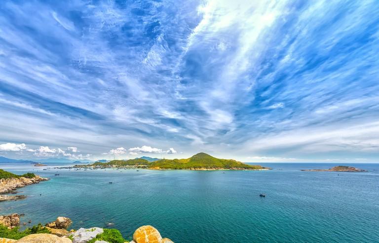 Cam Ranh Bay view from tropical Island in Binh Hung, Nha Trang, Vietnam