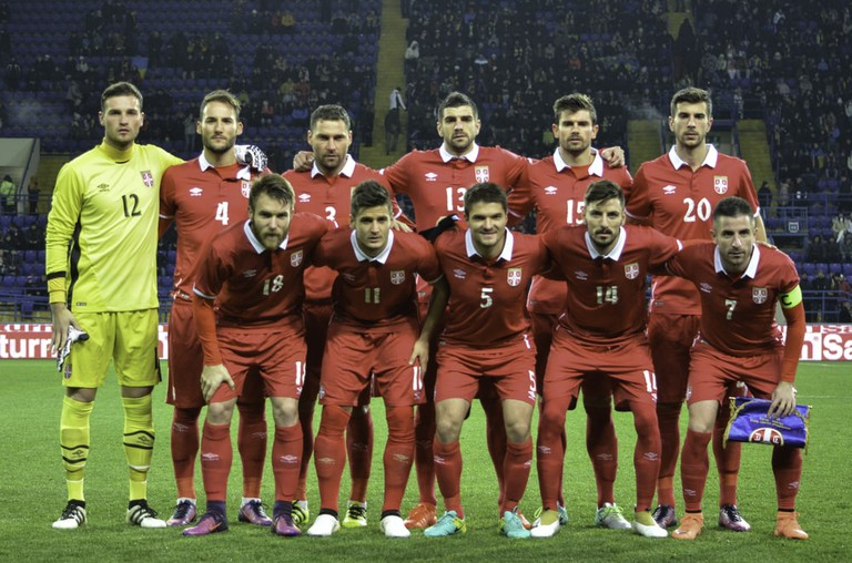 National football team photo Serbia during the friendly match national football team of Ukraine vs national team of Serbia, Metalist stadium, Ukraine