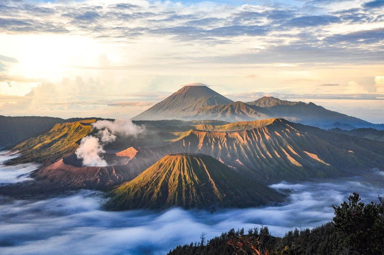 Mount Bromo volcano (Gunung Bromo) during sunrise from viewpoint on Mount Penanjakan, in East Java, Indonesia