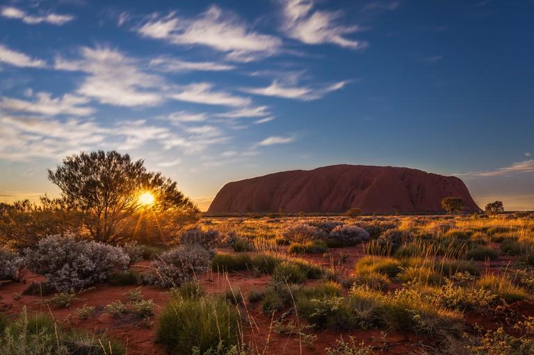 Sun rising over Uluru, Uluru-Kata Tjuta National Park, Australia