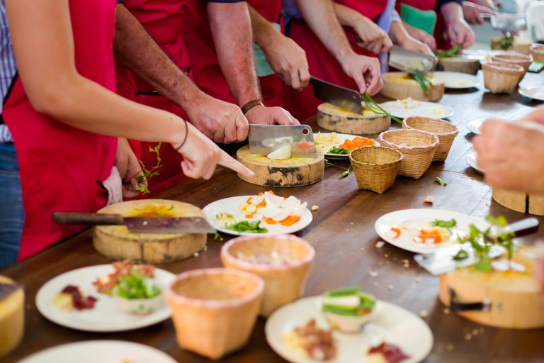 Traditional way of preparing thai food