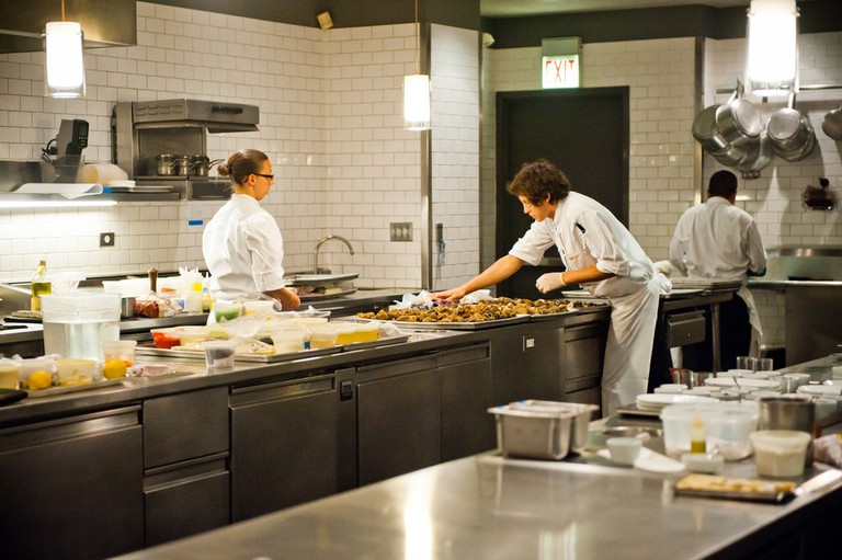 Busy scenes in a high-end kitchen