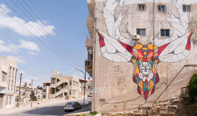 The Deer mural street art Jabal Weibdeh Amman Jordan