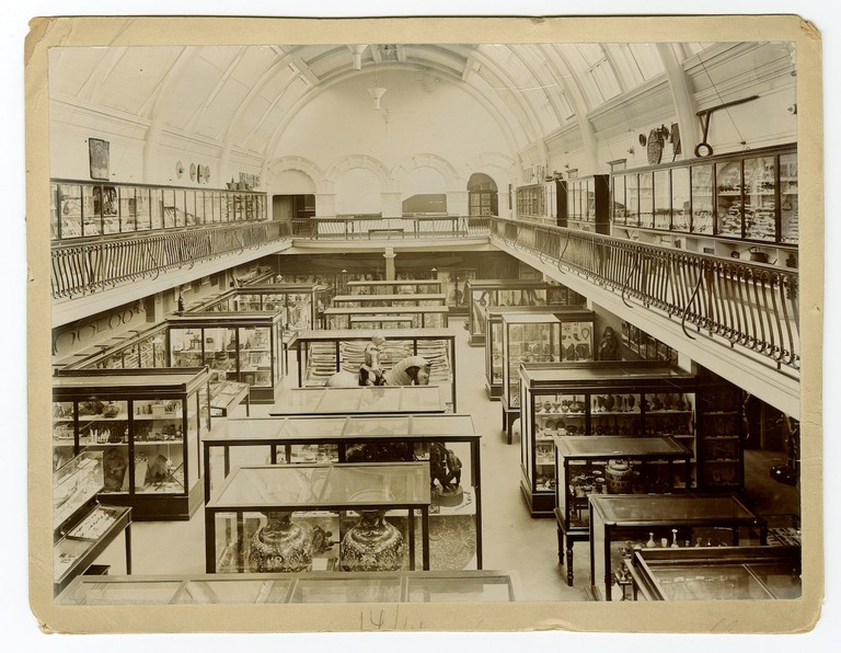 The historic South Hall displays, [early 20th century]
