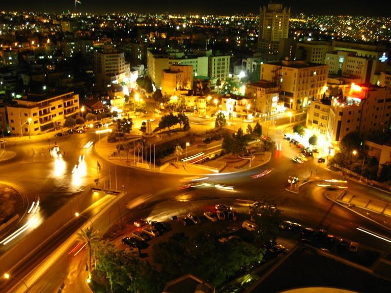 third-circle-traffic-circle-amman-jordan-night