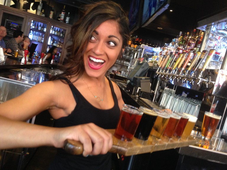 Flight tastings are a favorite at the Thirsty Lion in Denver
