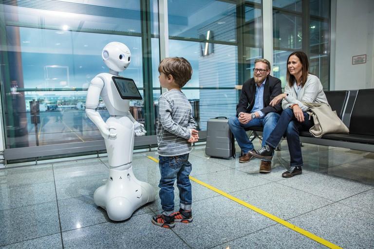 A Pepper robot using Watson technology in Munich Airport